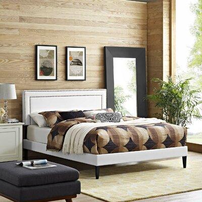 Huntsman Upholstered Platform Bed Color: White, Size: King