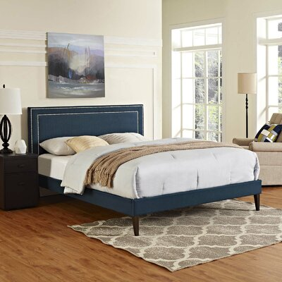 Huntsman Upholstered Platform Bed Color: Azure, Size: Full/Double