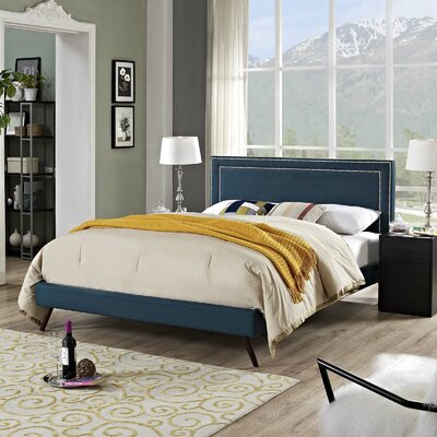 Huntsman Upholstered Platform Bed Color: Azure, Size: Twin