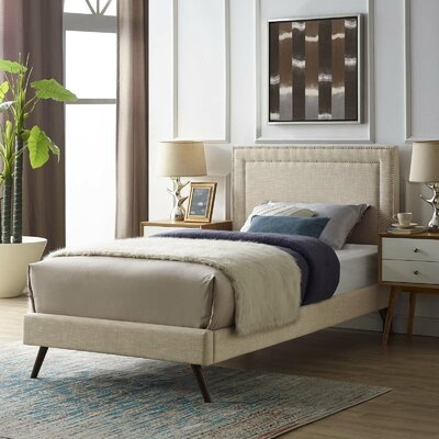 Huntsman Upholstered Platform Bed Color: Beige, Size: King