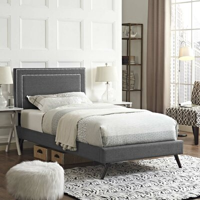 Huntsman Upholstered Platform Bed Color: Gray, Size: Twin