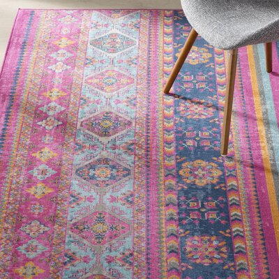 Fort Kent Fuchsia Striped Area Rug Rug Size: 87 x 116