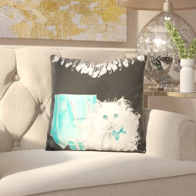 Blatherwick Persian Cat with Presents Throw Pillow
