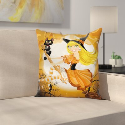 Halloween Decor Cute Witch Square Pillow Cover Size: 24 x 24