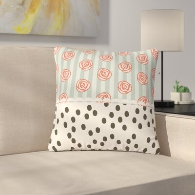 Pellerina Design Mismatch Romantic Polkadot Floral Outdoor Throw Pillow Size: 16 H x 16 W x 5 D