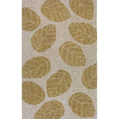 Kirts Leaf Hand-Woven Wool Khaki Area Rug
