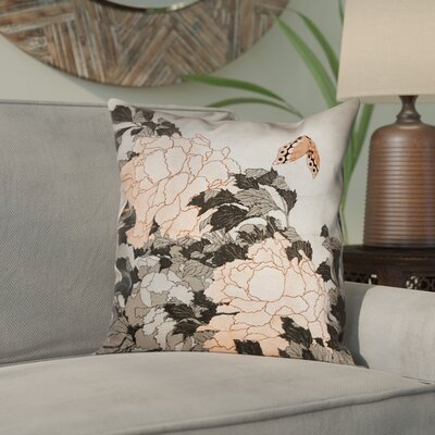 Clair Peonies and Butterfly Square Suede Pillow Cover Size: 14 H x 14 W, Color: Orange