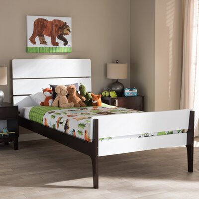 Chinery Twin Platform Bed Color: White/Dark Brown