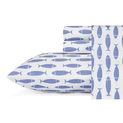 Woodblock Fish 200 Thread Count 100% Cotton Sheet Set Size: Twin XL