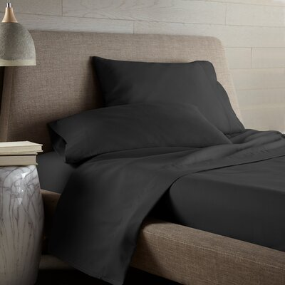 Hibbler Microfiber Sheet Set Size: King, Color: Black