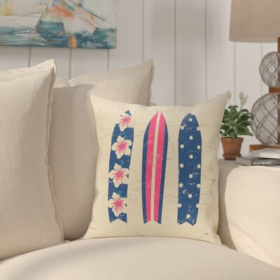 Pembrook Triple Surf Geometric Outdoor Throw Pillow Size: 18 H x 18 W, Color: Pink