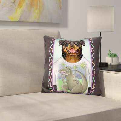 Rottweiler Dinosaur Throw Pillow
