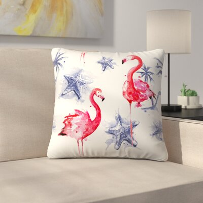 Flamingos Repeat Tile Throw Pillow Size: 18 x 18