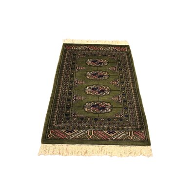 One-of-a-Kind Palomares Hand-Knotted Wool Green/Ivory Area Rug