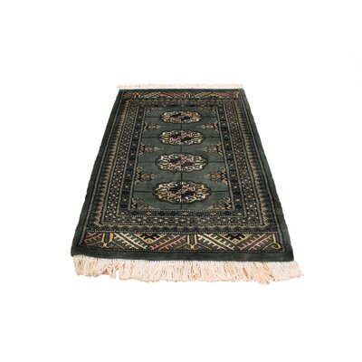 One-of-a-Kind Palomares Hand-Knotted Wool Green/Black Area Rug