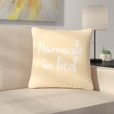 Namaste In Bed Outdoor Throw Pillow Size: 18 H x 18 W x 5 D, Color: Yellow