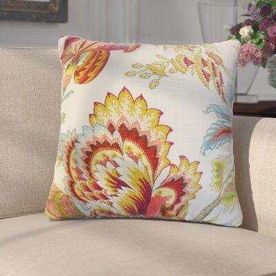 Fredrik Modern Floral Cotton Throw Pillow Color: Coral