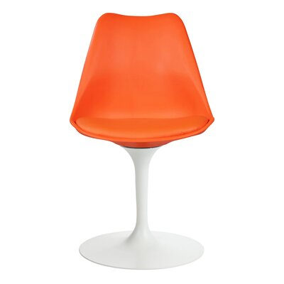 Ceniceros Mid-Century Modern Upholstered Dining Chair Upholstery : Orange
