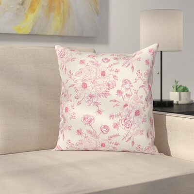 Romantic Rose Flowers Cushion Pillow Cover Size: 18 x 18