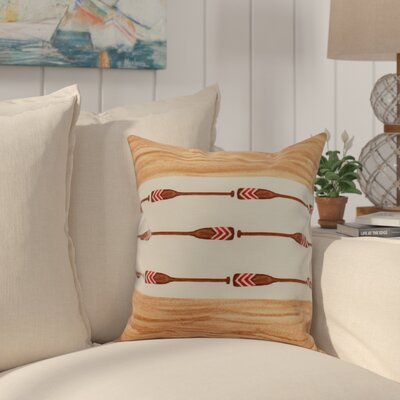 Crider Oar Stripe Center Print Indoor/Outdoor Throw Pillow Color: Ivory, Size: 16 x 16