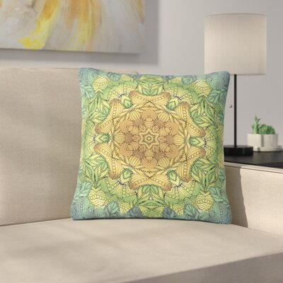 Art Love Passion Celtic Golden Flower Geometric Outdoor Throw Pillow Size: 16 H x 16 W x 5 D