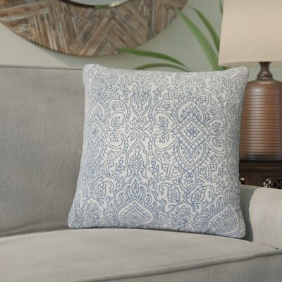 Amina Damask Cotton Throw Pillow Color: Lapis