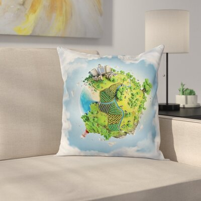 Cartoon Globe Ery Square Pillow Cover Size: 16 x 16
