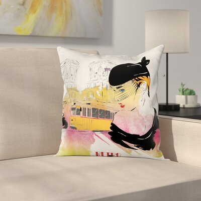 Girls Room Decor Elegant Retro Square Pillow Cover Size: 16 x 16