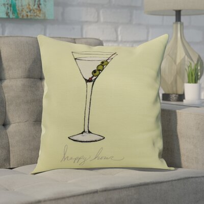 Crosswhite Martini Glass Happy Hour Geometric Print Indoor/Outdoor Throw Pillow Color: Light Green, Size: 16 x 16