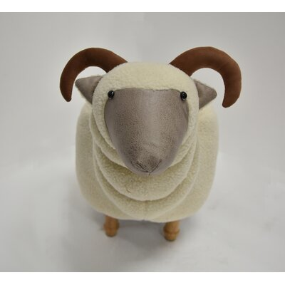 Hodapp Sheep Animal Ottoman Upholstery: Ivory, Color: Oak