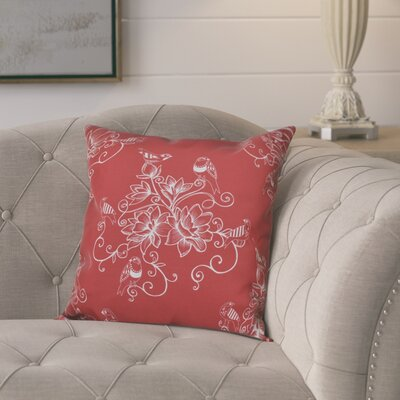 Cecilia Morning Birds Floral Outdoor Throw Pillow Size: 20 H x 20 W, Color: Coral
