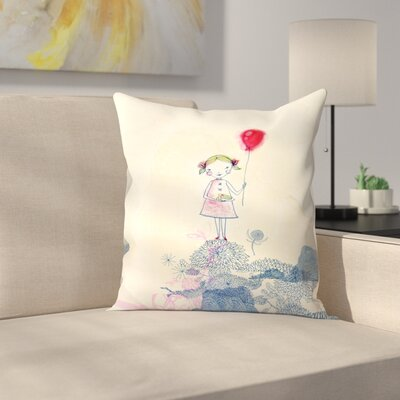 Paula Mills Baloon Girl Throw Pillow Size: 16 x 16