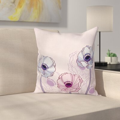 Anemone Retro Buds Field Square Cushion Pillow Cover Size: 24 x 24