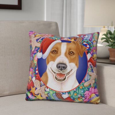 Berkey Christmas Jack Russel Throw Pillow