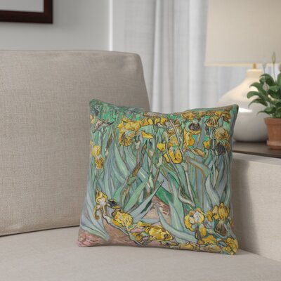 Bristol Woods Irises Pillow Cover Color: Yellow, Size: 14 x 14