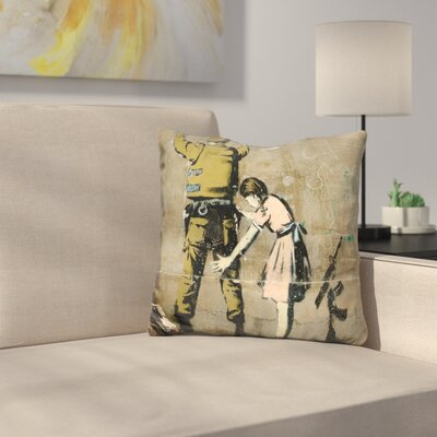 Girl and Soldier Throw Pillow