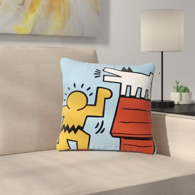 Jared Yamahata Haring-Schulz Illustration Pop Art Outdoor Throw Pillow Size: 18 H x 18 W x 5 D