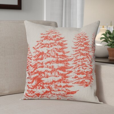 Winter Forest Linen Throw Pillow Color: Red