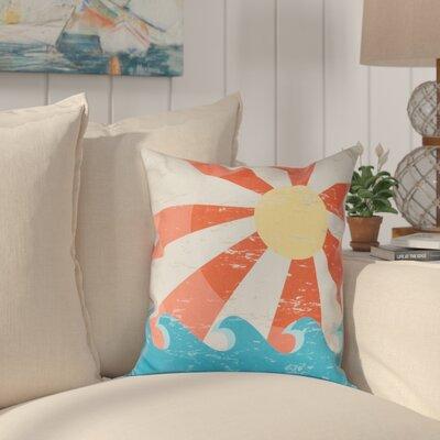 Pembrook Sunbeams Geometric Outdoor Throw Pillow Size: 18 H x 18 W, Color: Orange