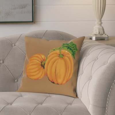 Pinero Pumpkin Patch Holiday Print Throw Pillow Size: 18 H x 18 W, Color: Brown