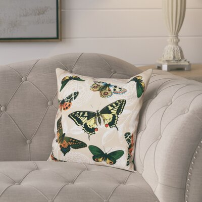 Swan Valley Antique Butterflies and Flowers Animal Print Throw Pillow Size: 16 H x 16 W, Color: Taupe