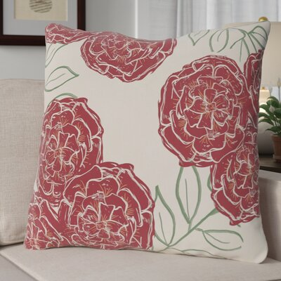 Broad Brook Mums the Word Floral Print Outdoor Pillow Color: Brick, Size: 18 H x 18 W x 1 D
