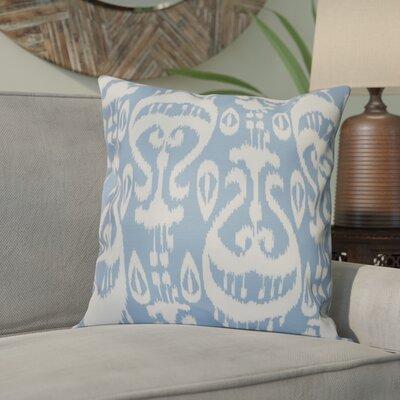 Sabrina Ikat Geometric Outdoor Throw Pillow Size: 20 H x 20 W, Color: Blue