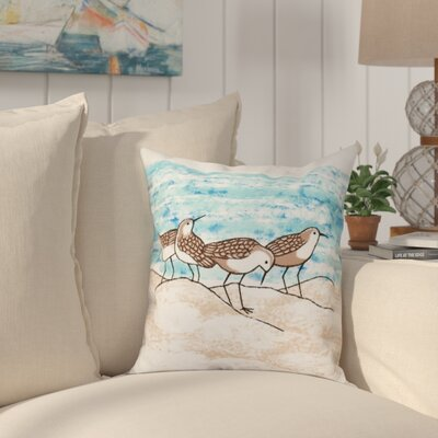 Boubacar Sandpipers Animal Print Throw Pillow Size: 18 H x 18 W, Color: Taupe/Beige