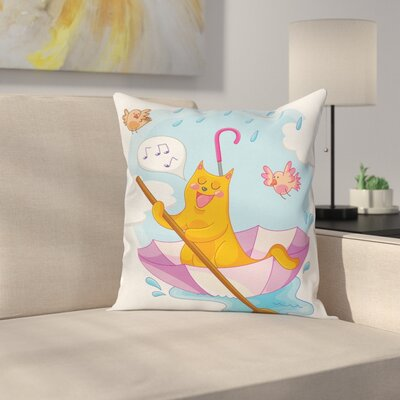 Cat Cartoon Animal Kids Birds Square Pillow Cover Size: 16 x 16