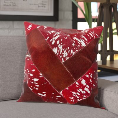 Boquillas Leather Throw Pillow Color: Burgundy/Silver