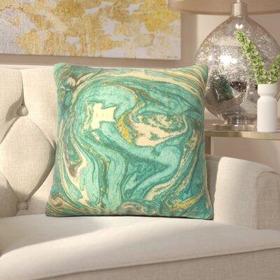 Analia Cotton Throw Pillow Color: Aqua/Gold