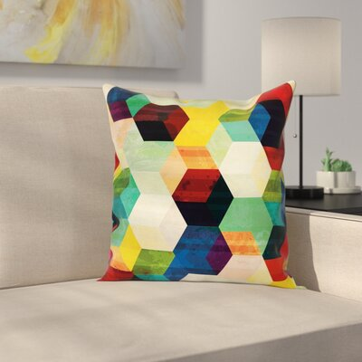 Rhombus Pattern Grunge Square Pillow Cover Size: 20 x 20