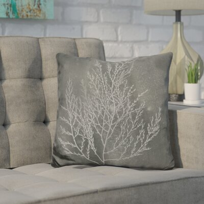 Jaworski Silver Foil Algae Throw Pillow Color: Black