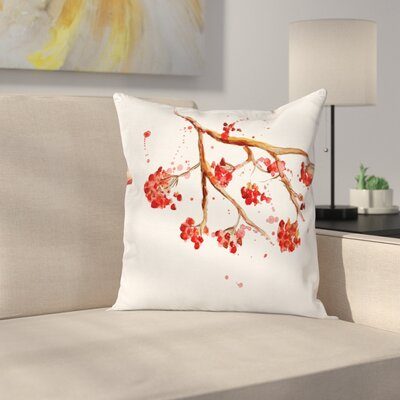 Tree Watercolor Splashes Square Pillow Cover Size: 18 x 18